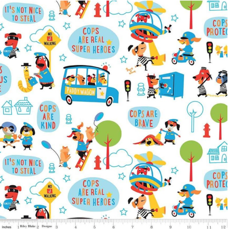 Cops and Robbers Main White by Riley Blake C8610-WHITE | Royal Motif Fabrics