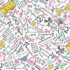 Timeless Treasures - Math & Science - Colorful Math Doodles on Grid
