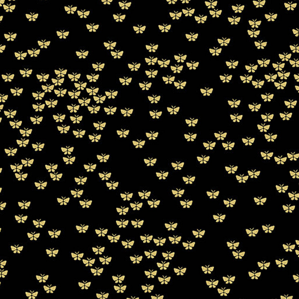 Metallic Mixers Gold - Metallic Butterflies Black/Gold by Benartex