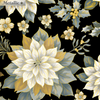 Rejoice - Treasured Poinsettia Black/Gold by Kanvas Studio for Benartex