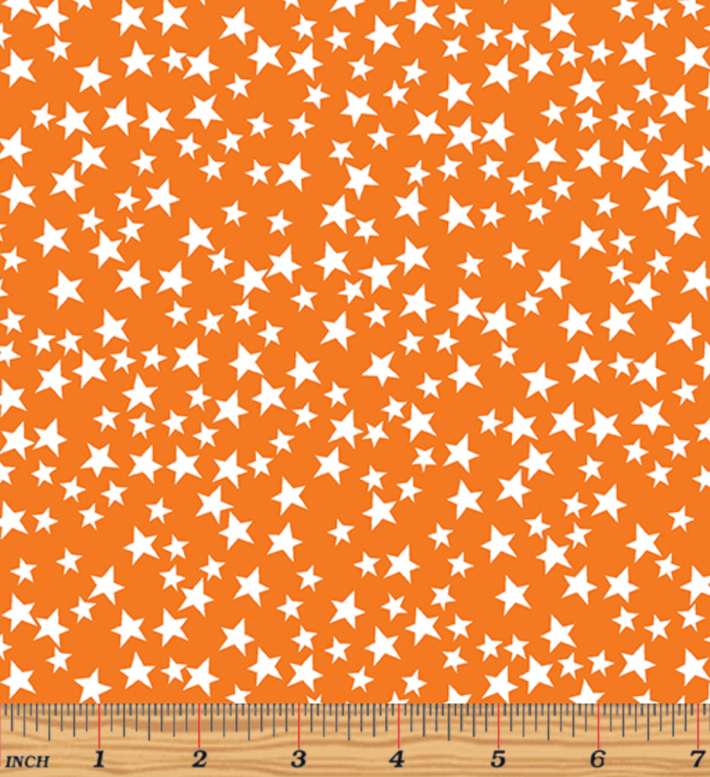 Glow For It - Star Glow Orange Glow in the Dark Fabric by Kanvas Studio - Benartex