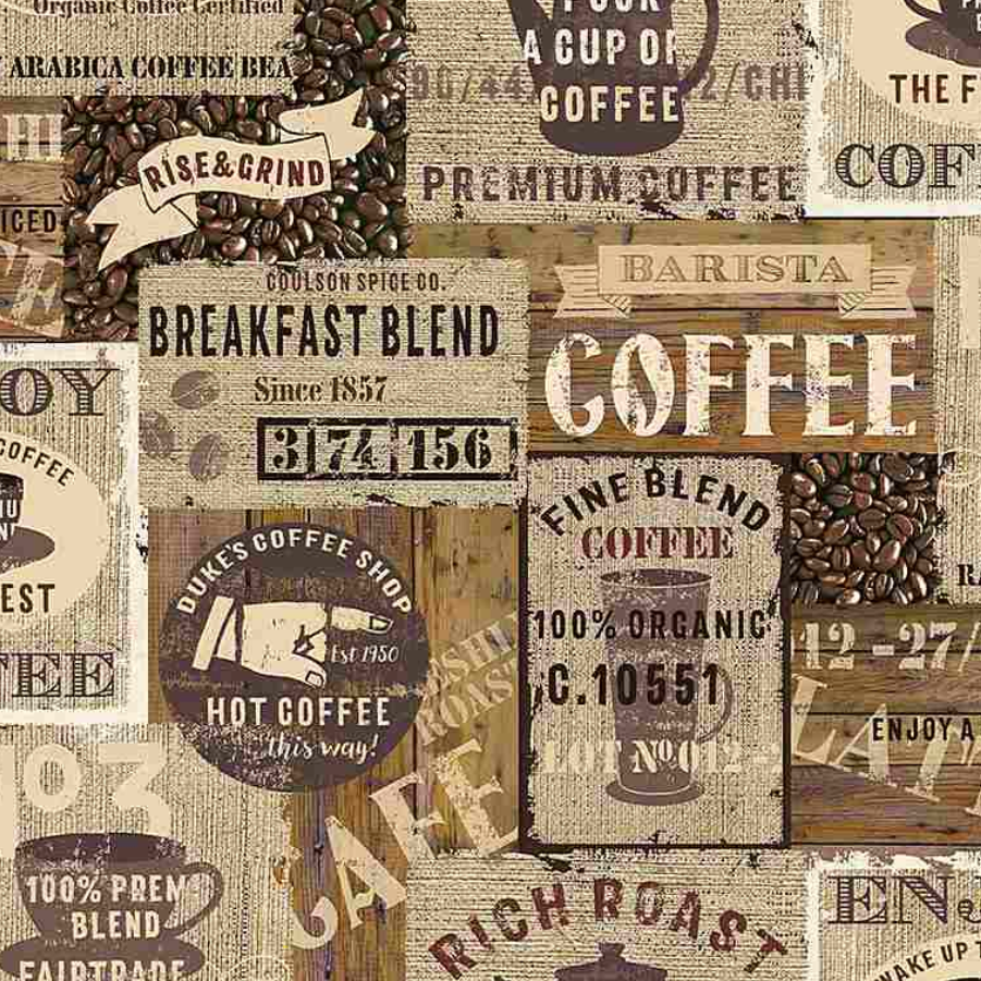 Rise And Grind - Packed Coffee Signs by Timeless Treasures | Royal Motif Fabrics