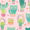 Kitty Cactus - Quirky Cat Cacti by Timeless Treasures | Novelty Fabrics