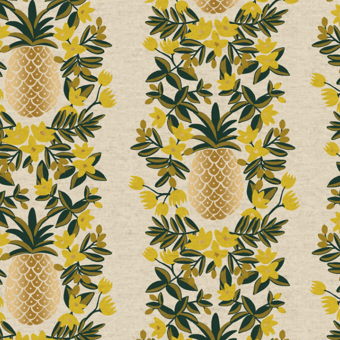 Primavera Pineapple Stripe Cream Canvas Metallic Fabric by Cotton + Steel