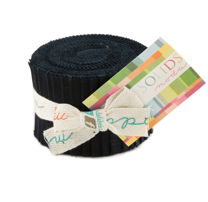 Moda Fabrics - Bella Solids Black Junior Jelly Roll