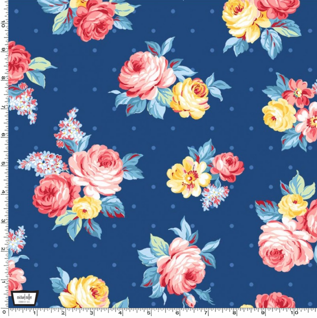 Country Cottage - Local Blooms Blue by Michael Miller | Royal Motif Fabrics