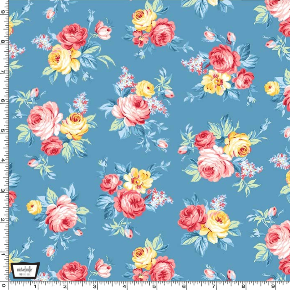 Country Cottage - Locally Grown Blue by Michael Miller | Royal Motif Fabrics