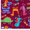 Dino World - Dino Dudes Burgundy by Michael Miller | Royal Motif Fabrics
