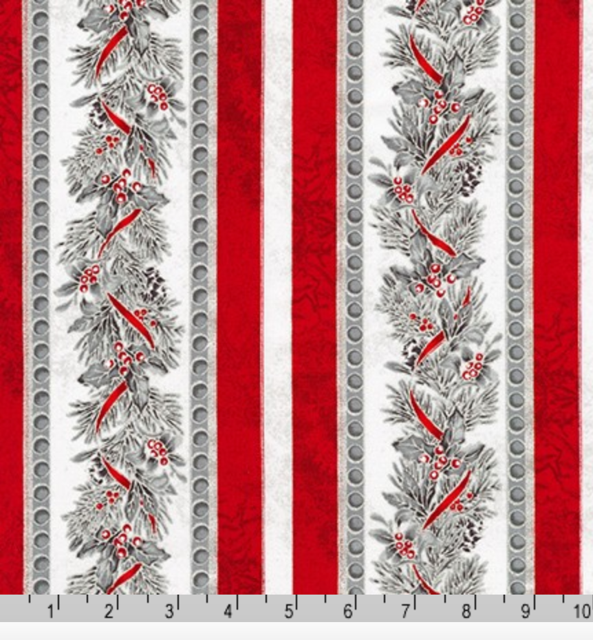 Winter's Grandeur 8 - Silver Metallic Pine Branch Stripes by Robert Kaufman