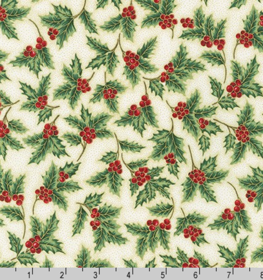 Holiday Flourish 13 - Holiday Holly by Robert Kaufman SRKM-19258-223
