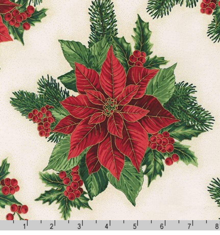 Holiday Flourish 13 - Holiday Poinsettia Bouquet by Robert Kaufman 19257-223