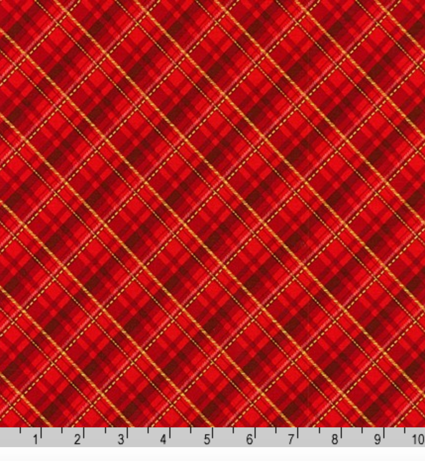 Winter's Grandeur 8 - Gold Metallic and Red Plaid by Robert Kaufman 19329-3