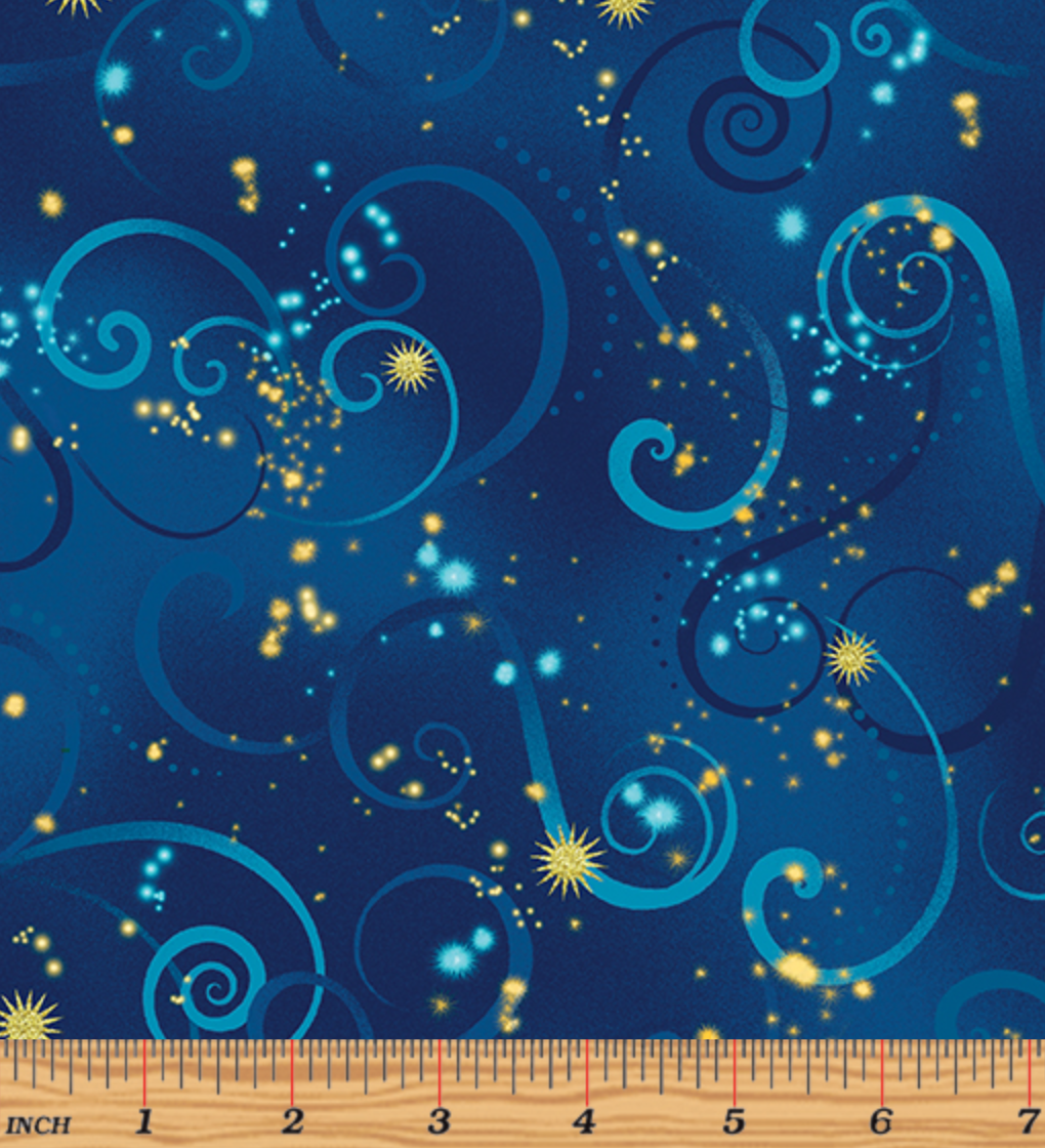 Dance of the Dragonfly Swirling Sky Midnight Blue by Kanvas Studio/Benartex 8500M-55