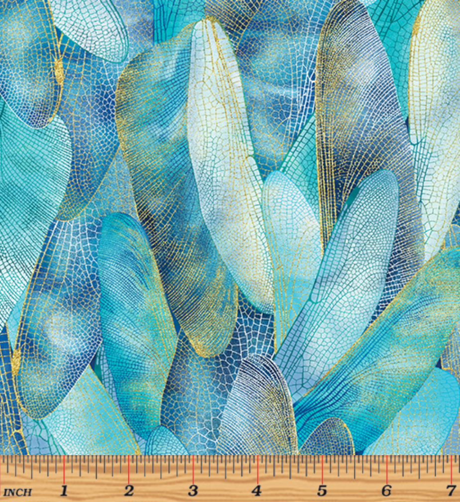Dance of the Dragonfly Gilded Wings Aquamarine by Kanvas Studio/Benartex 8501M-84