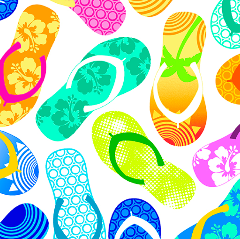 Tropical Breeze - Tropical Flip Flops White by Kanvas Studio for Benartex