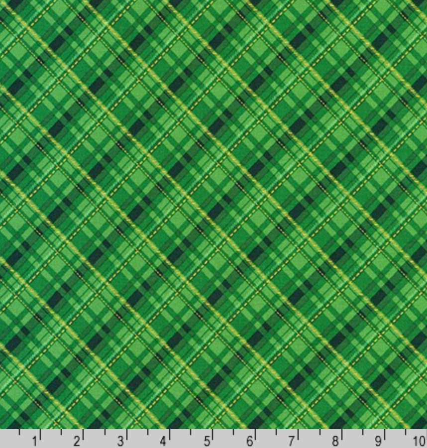 Winter's Grandeur 8 - Gold Metallic and Green Plaid by Robert Kaufman AXBM-19329-7