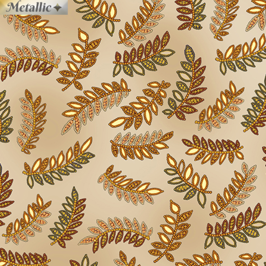 Radiance - Radiant Ferns Beige by Kanvas Studio for Benartex 9745M-70