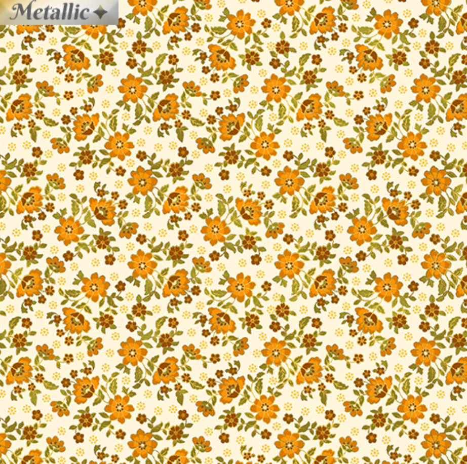 Radiance - Radiant Mini Blossoms Cream Orange by Benartex 9746M-07