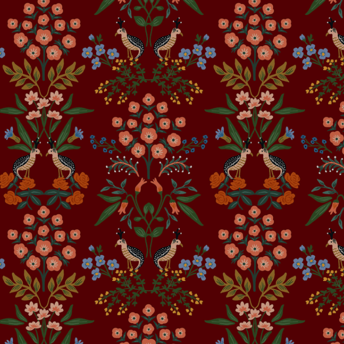 Meadow - Luxembourg Burgundy Fabric by Rifle Paper Co. for Cotton + Steel