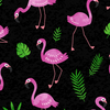 Tropical Breeze - Flamingo Frenzy Black by Kanvas Studio for Benartex