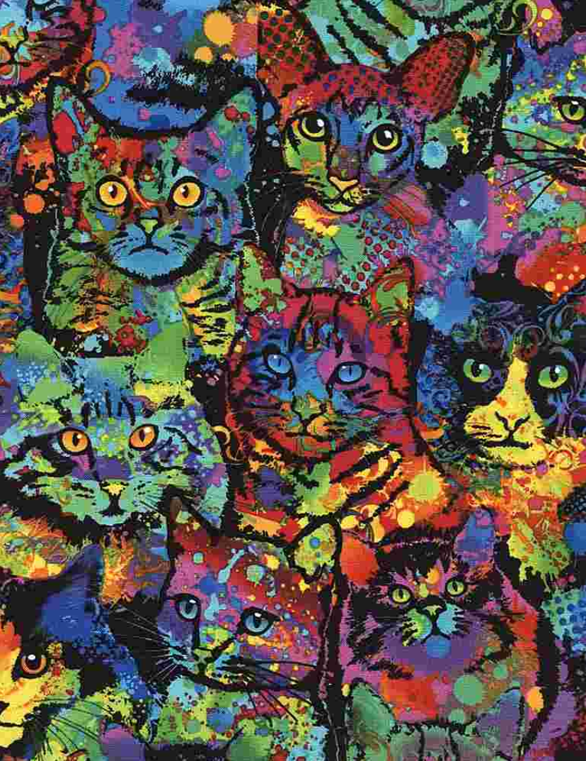 Crazy for Cats - Paint Splatter Cats by Timeless Treasures | Cats Fabric