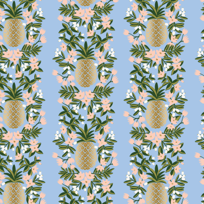 Primavera Pineapple Stripe Periwinkle Metallic Fabric by Cotton + Steel