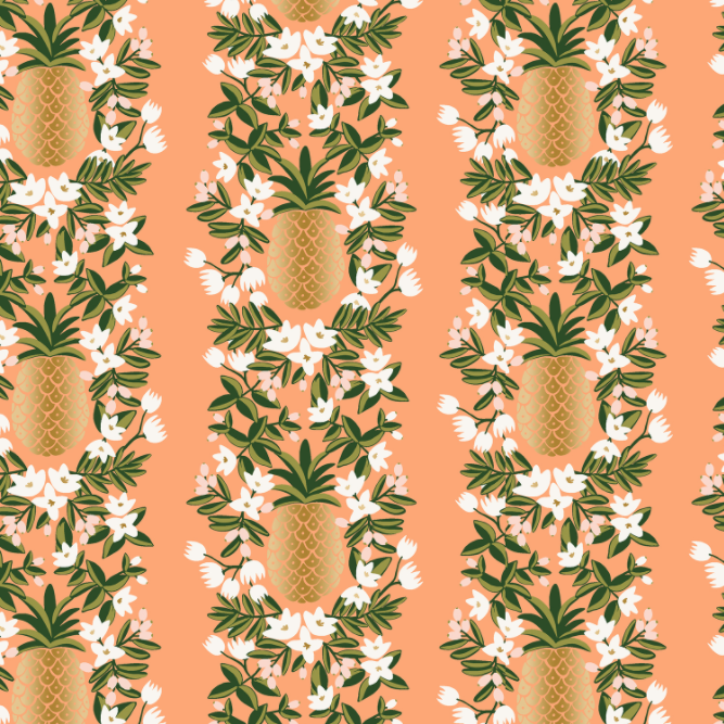 Primavera Pineapple Stripe Peach Metallic Fabric by Cotton + Steel