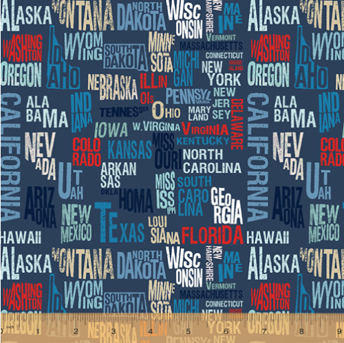 Across The USA States by Whistler Studios for Windham Fabrics 52206-2