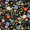 Strawberry Fields - Floral Black Rayon Fabric by Cotton + Steel | RP400-BK5R