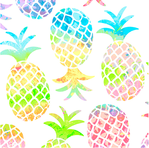 Tropical Breeze - Pineapple Paradise White by Kanvas Studio for Benartex 9715-09