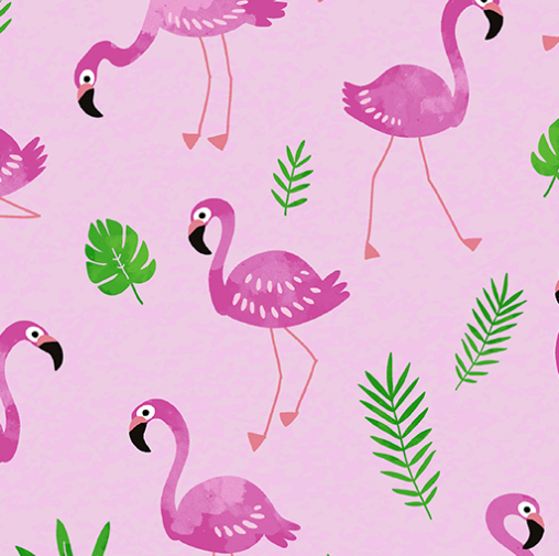 Tropical Breeze - Flamingo Frenzy Pink by Kanvas Studio for Benartex 9718-01
