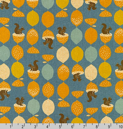 Cotton Flax Prints Squirrels on Slate by Robert Kaufman|Royal Motif Fabrics
