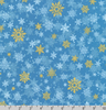 Winter's Grandeur 8 - Gold Metallic Snowflakes on Blue by Robert Kaufman