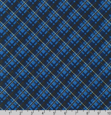 Winter's Grandeur 8 - Gold Metallic and Navy Plaid by Robert Kaufman AXBM-19329-9