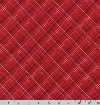 Winter's Grandeur 8 - Silver Metallic and Scarlet Plaid by Robert Kaufman AXBM-19329-93
