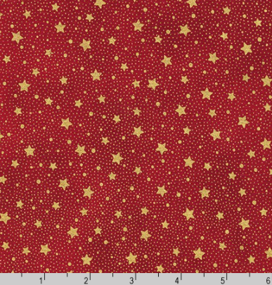 Holiday Flourish 13 - Gold Dots/Stars on Red by Robert Kaufman SRKM-19259-3