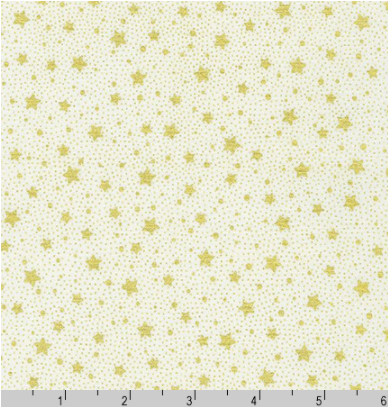 Holiday Flourish 13 - Gold Dots/Stars on Ivory by Robert Kaufman SRKM-19259-15