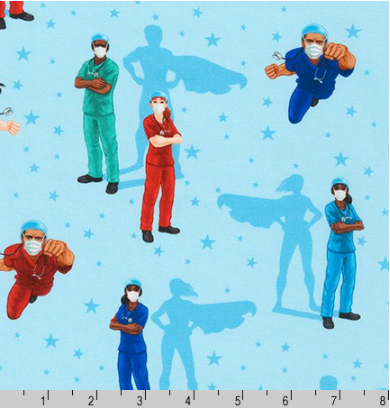 Frontline Heroes on Blue by Robert Kaufman | Novelty Prints SRK-20335-4 BLUE