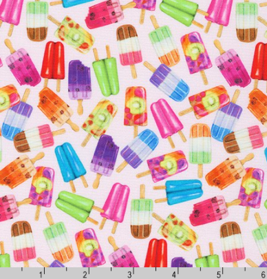 Sweet tooth - Popsicles on Pink by Robert Kaufman | Novelty Prints