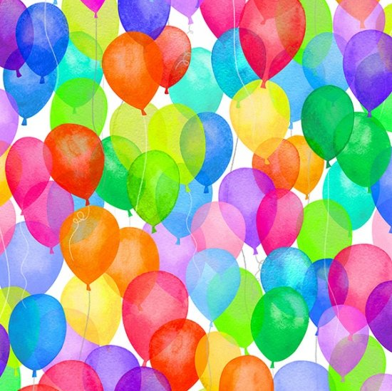 Cue the Confetti - Rainbow Balloons by Hoffman Fabrics S4789-181-Rainbow
