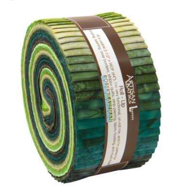 Robert Kaufman Artisan Batiks Prisma Dyes Rainforest Colorstory Roll Up/Jelly Roll