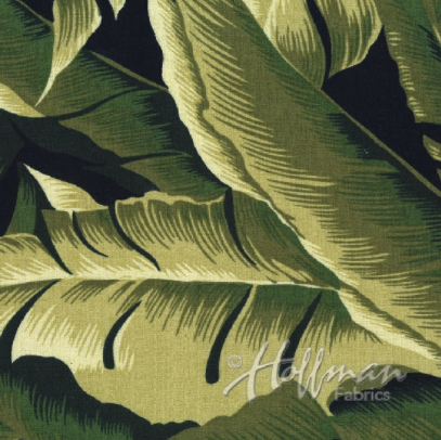On the Lanai - Leaves Olive Green Barkcloth Fabric by Hoffman Fabrics
