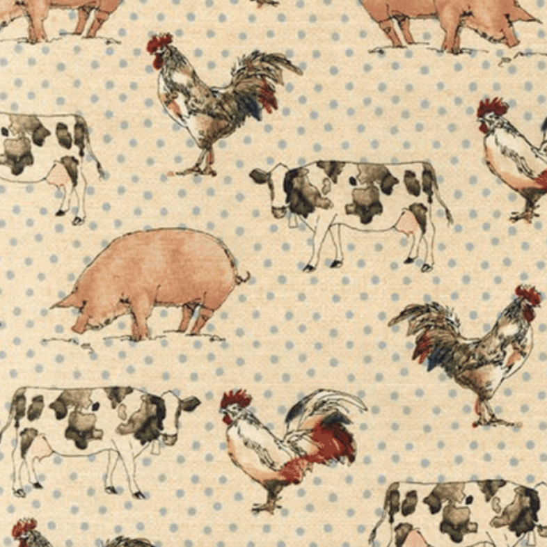 Better On The Farm - Farm Animals with Blue Dots fabric by Robert Kaufman
