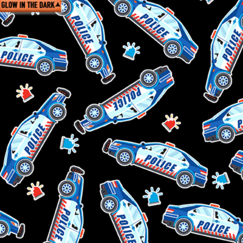 Save the Day - Police Cars on Black/Glow in the Dark Fabric by Kanvas Studio Benartex
