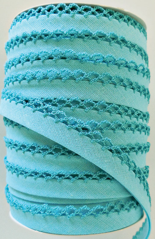 Crotchet Edge Double Fold Bias Solid Turquoise Tape