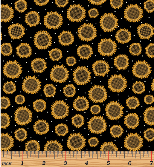 Rustic Fall - Rustic Sunflower Black 1838-12 by Benartex