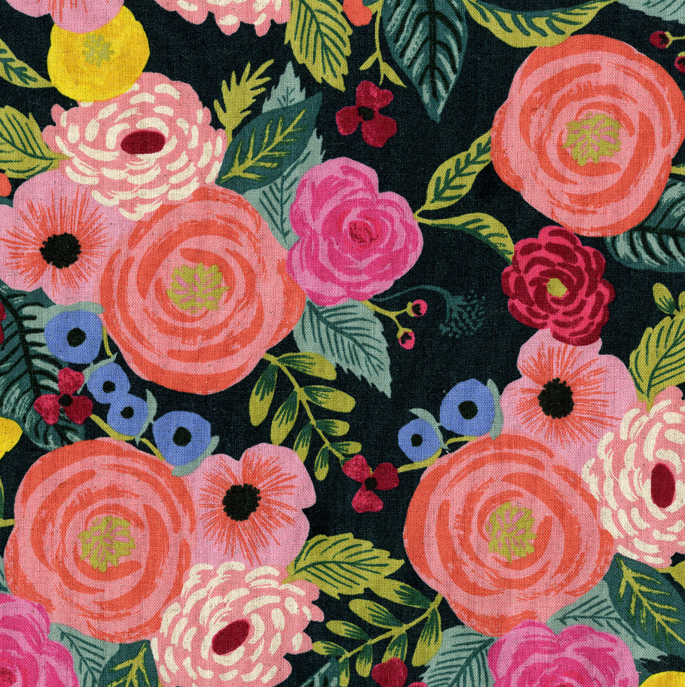 Canvas Fabric by Cotton + Steel English Garden Juliet Rose Navy