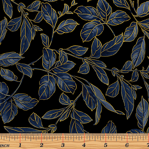 Blue Symphony Botanical Leaves Royal/Gold 8937M-52 by Benartex