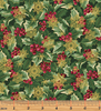 A Festive Season 3 Holly with Flakes Forest/Gold 2654M-45 by Benartex