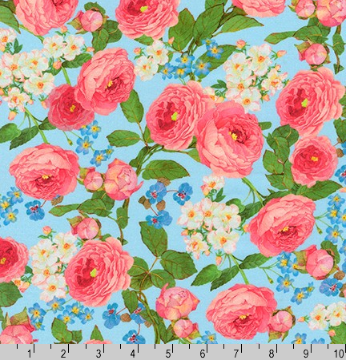 Farmhouse Rose Floral on Blue by Robert Kaufman AWHD-18602-4 BLUE
